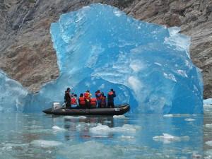 People on a dinghy in ALaska