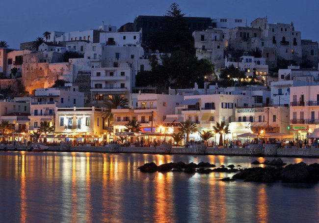 View on the Cyclades town at night