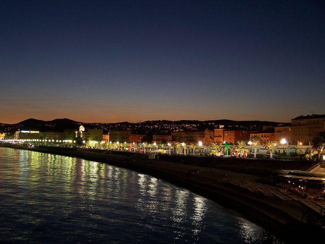 View on NICE at night