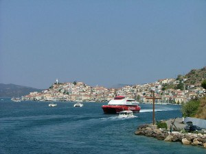Boats on the water in Poros