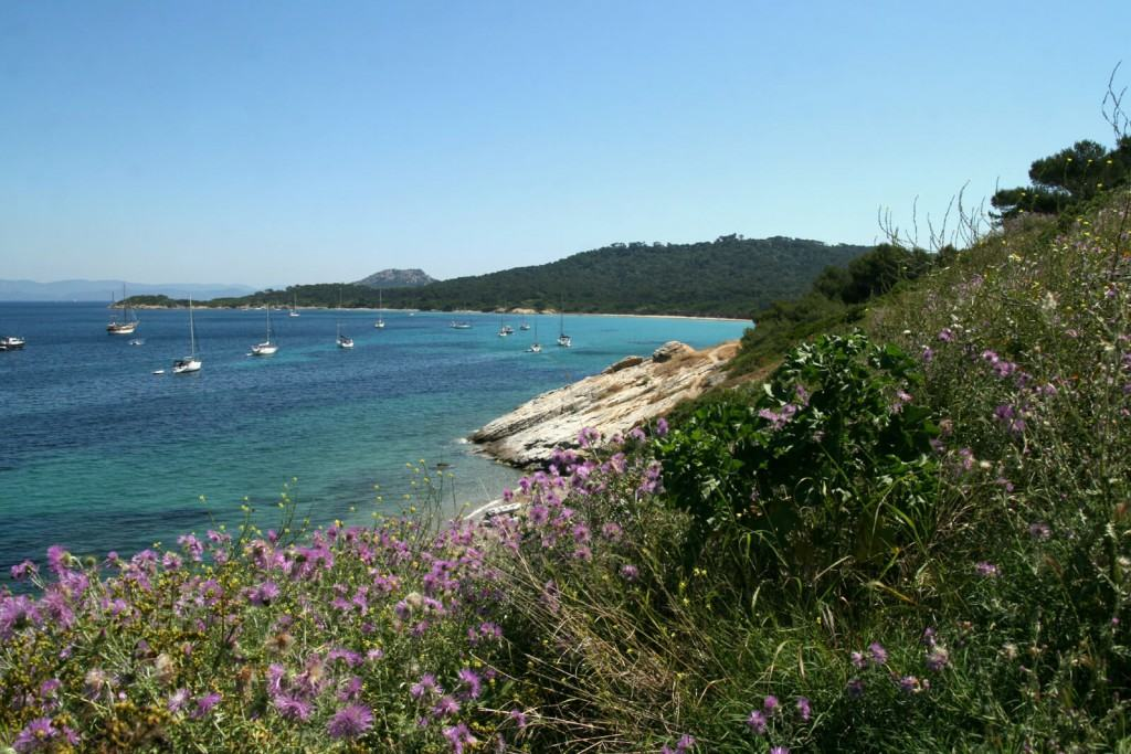 View on the beach of Porquerolles