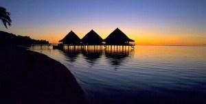 View on Tahiti at the sun set