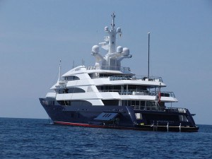 Luxury yacht on the water