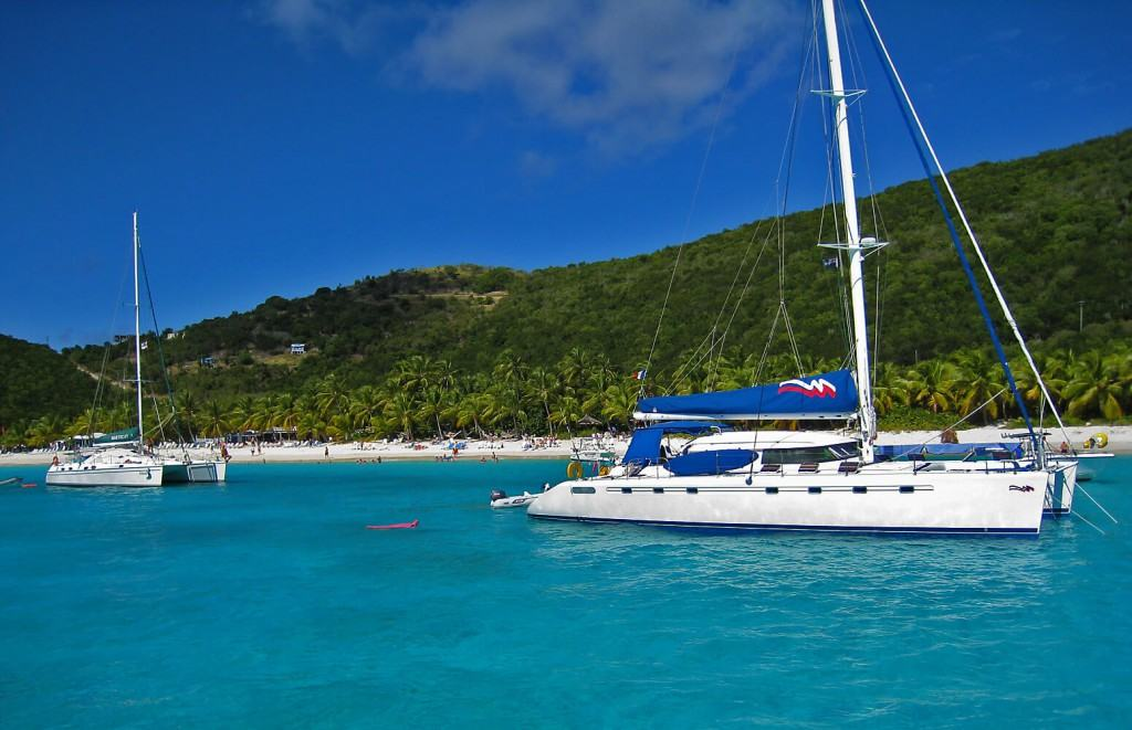 Catamaran on the water in the BVI