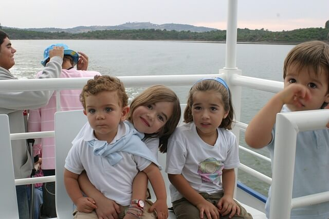 children on boat
