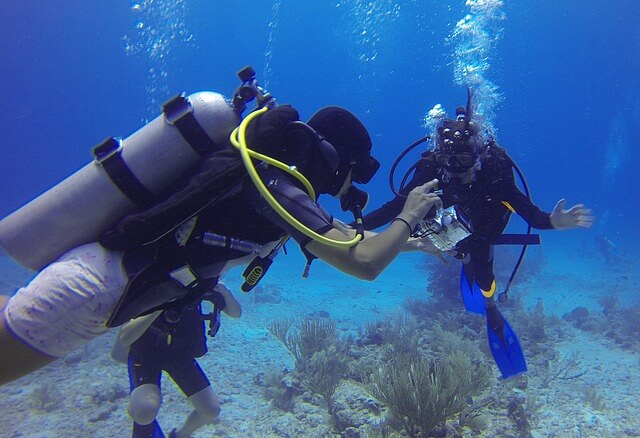 Scuba-diving on a crewed yacht charter