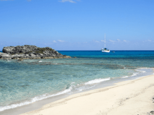 Boat on the water in the Exuma
