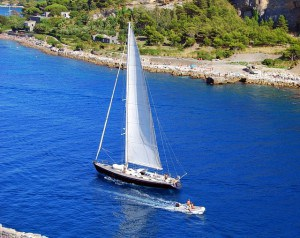 Sailing yacht on the water