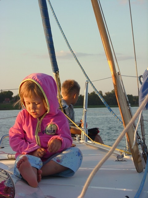 Children on board a yacht