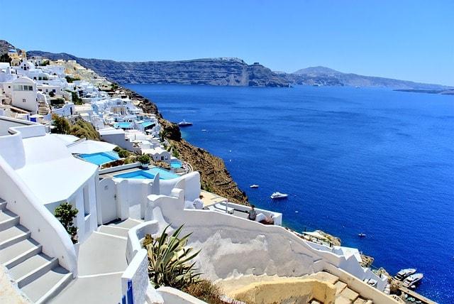 View on Santorini sea