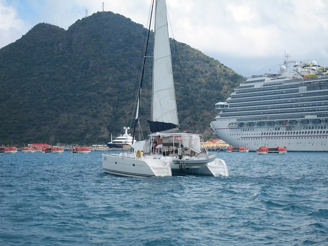 Catamaran on the water