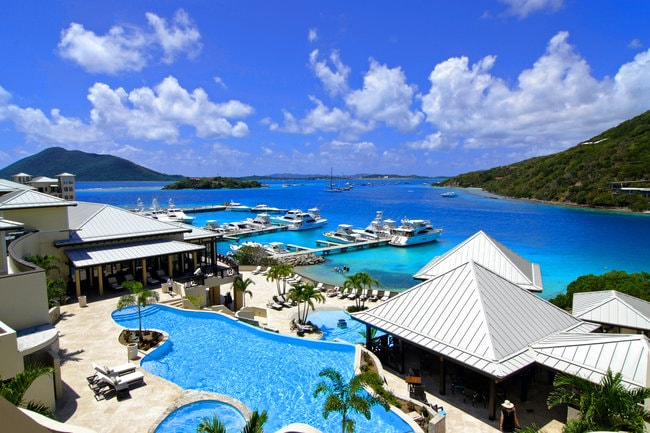 American yacht harbor in the Caribbean