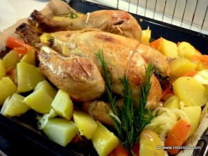 Roasted chicken with potatos