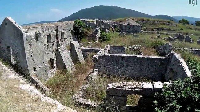 View on the castle of Gia Mavra in Lefkada