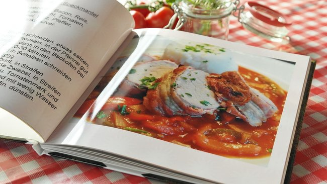 Book recipe on a table