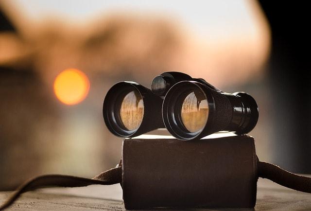 Binoculars on a bag