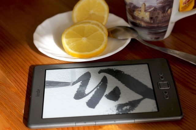 Kindle book on the table