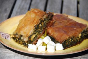 Filo with spinach on a plate