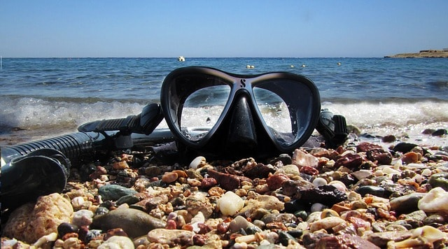 Snorkeling gear on the beach
