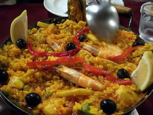 Paella seafood on a plate