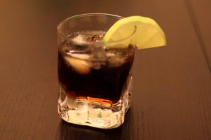 Rum and coke drink in a glass