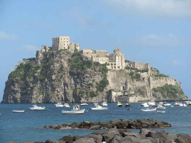 Boat on the water in Ischia