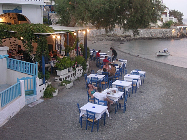 Restaurant on the seafront in Greece