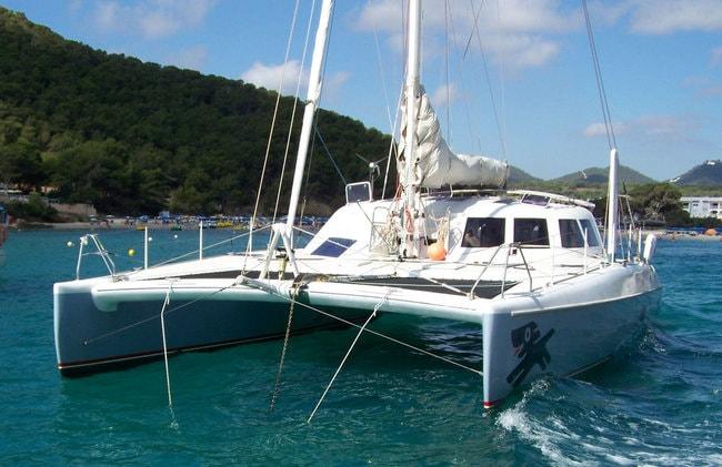 Catamaran on the water in Greece
