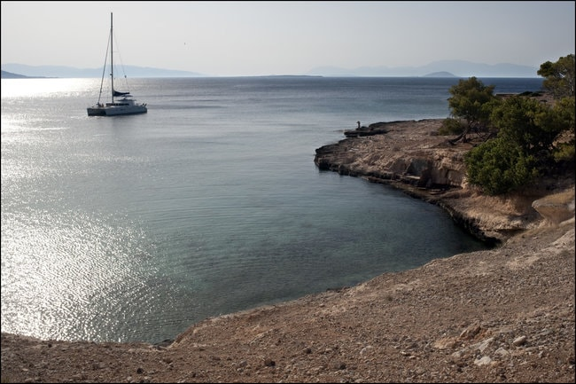 Boat on the water in Aegina in the Cyclades
