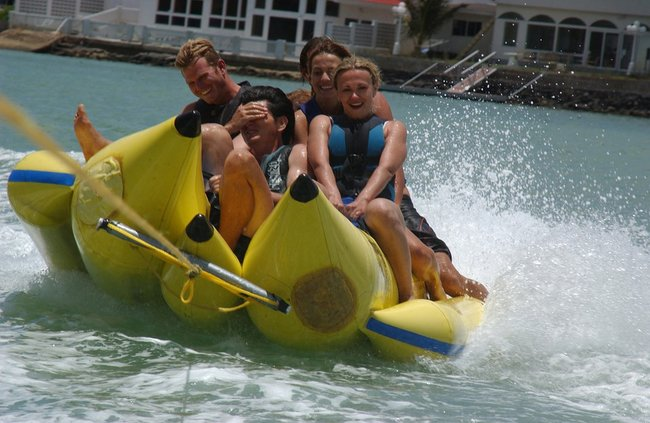 Friends on a banana boat