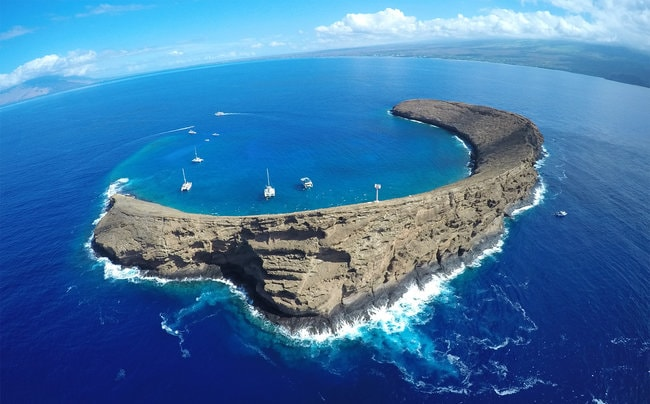 Snorkeling around Molokini Crater