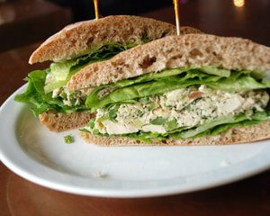 Chicken salad sandwich snack for boating