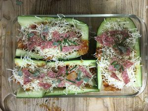 Zucchini pizza snack for boating