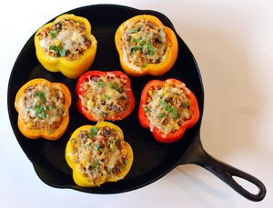 Stuffed peppers with corn_black beans and pepperjack boating recipe