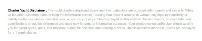 Yacht Charter Disclaimer